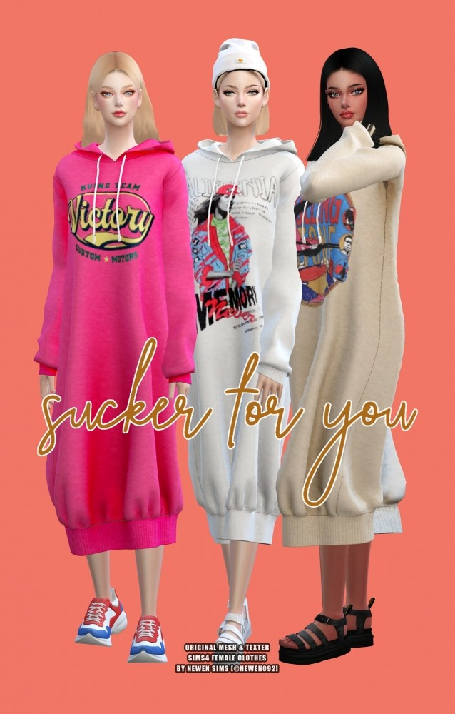 Sims 4 Oversized Hoodie Dress at NEWEN