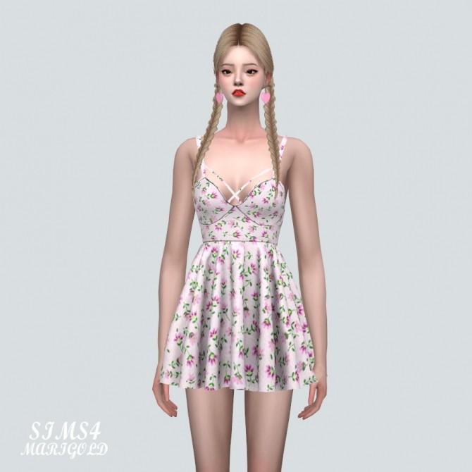 Sims 4 Bustier Flare Mini Dress Pattern V at Marigold