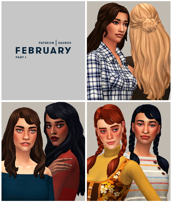 Sims 4 Elena, Patience & Pippi Hairs   February Releases Part I at Saurus Sims