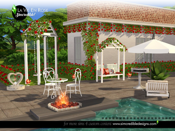 Sims 4 La vie en rose garden set by SIMcredible at TSR