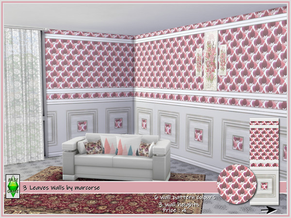 3 Leaves Walls by marcorse at TSR image 1413 Sims 4 Updates