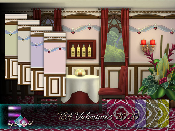 Sims 4 TS4 Valentines 2020 wall & floors by emerald at TSR
