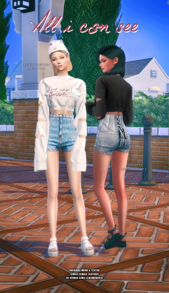 Long Sleeves Crop Top & Corset Denim Shorts at NEWEN image 1498 577x1000 Sims 4 Updates