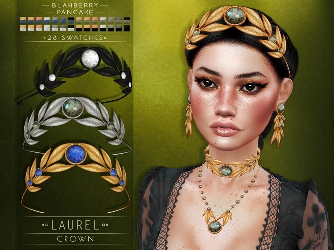 Sims 4 Laurel set: crown, choker & earrings at Blahberry Pancake