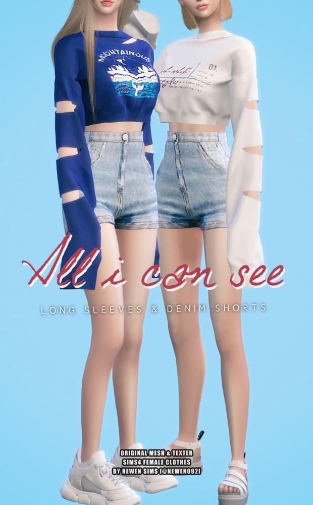 Long Sleeves Crop Top & Corset Denim Shorts at NEWEN image 1509 620x1000 Sims 4 Updates
