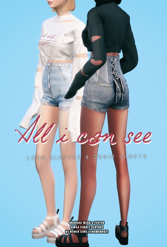 Long Sleeves Crop Top & Corset Denim Shorts at NEWEN image 15115 670x989 Sims 4 Updates