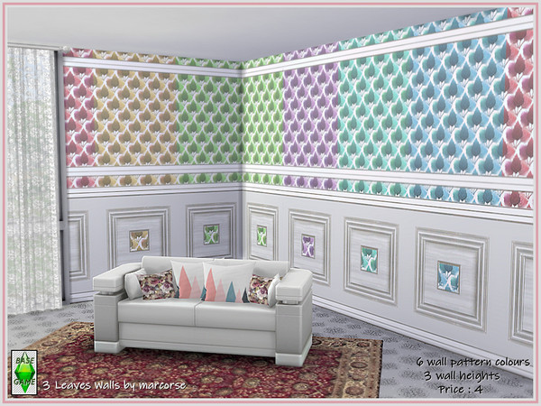 3 Leaves Walls by marcorse at TSR image 1512 Sims 4 Updates