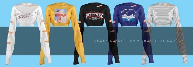 Long Sleeves Crop Top & Corset Denim Shorts at NEWEN image 15212 670x232 Sims 4 Updates
