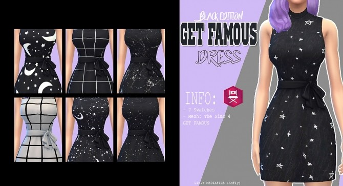 Sims 4 Get famous dress black edition at Kass