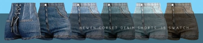 Long Sleeves Crop Top & Corset Denim Shorts at NEWEN image 15310 670x143 Sims 4 Updates
