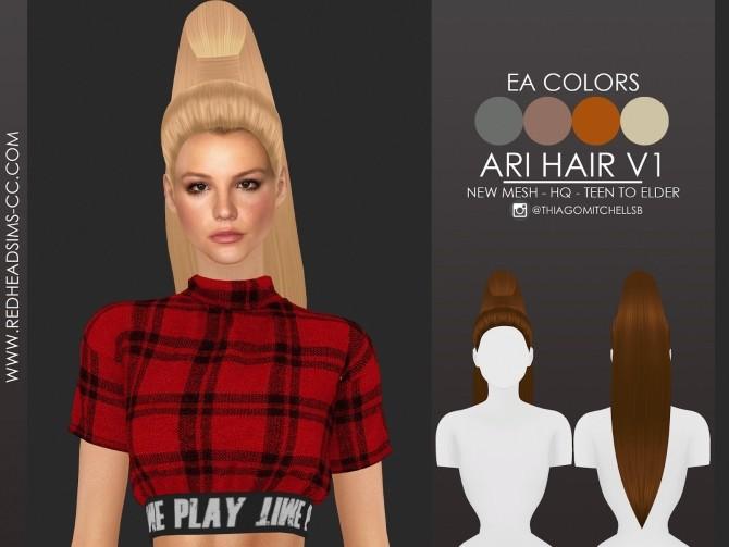 ARI HAIR by Thiago Mitchell at REDHEADSIMS image 1537 670x503 Sims 4 Updates