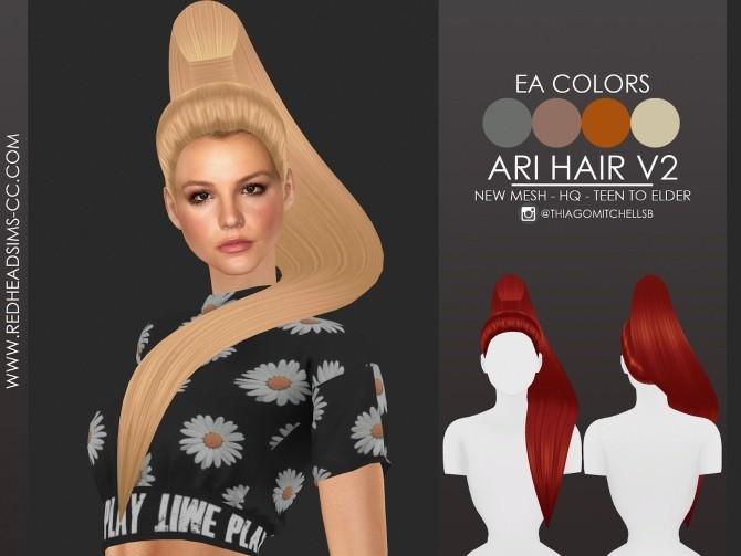 Sims 4 ARI HAIR by Thiago Mitchell at REDHEADSIMS