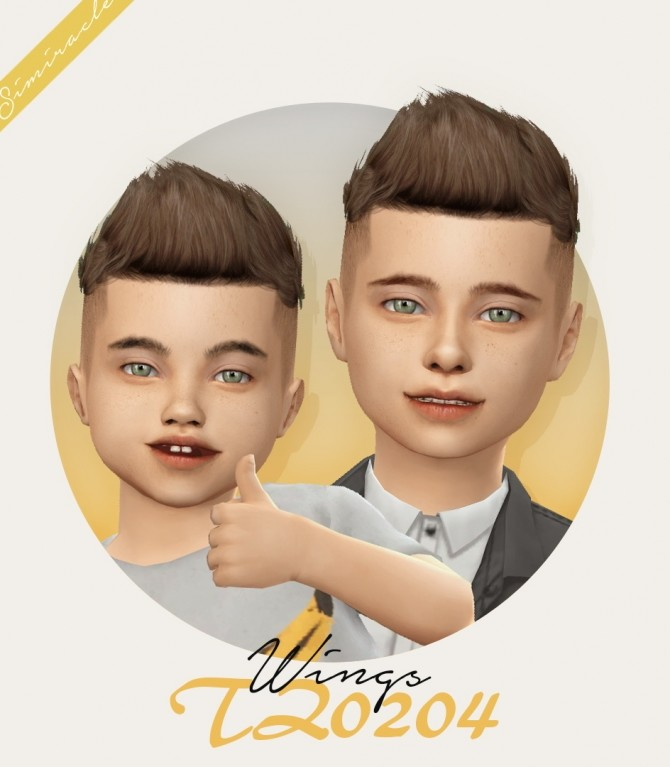 Sims 4 Wings TZ0204 hair for kids and toddlers at Simiracle