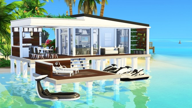 Sims 4 TINY MODERN BEACH HOUSE at Aveline Sims