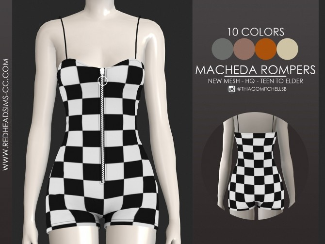 Sims 4 MACHEDA ROMPERS by Thiago Mitchell at REDHEADSIMS