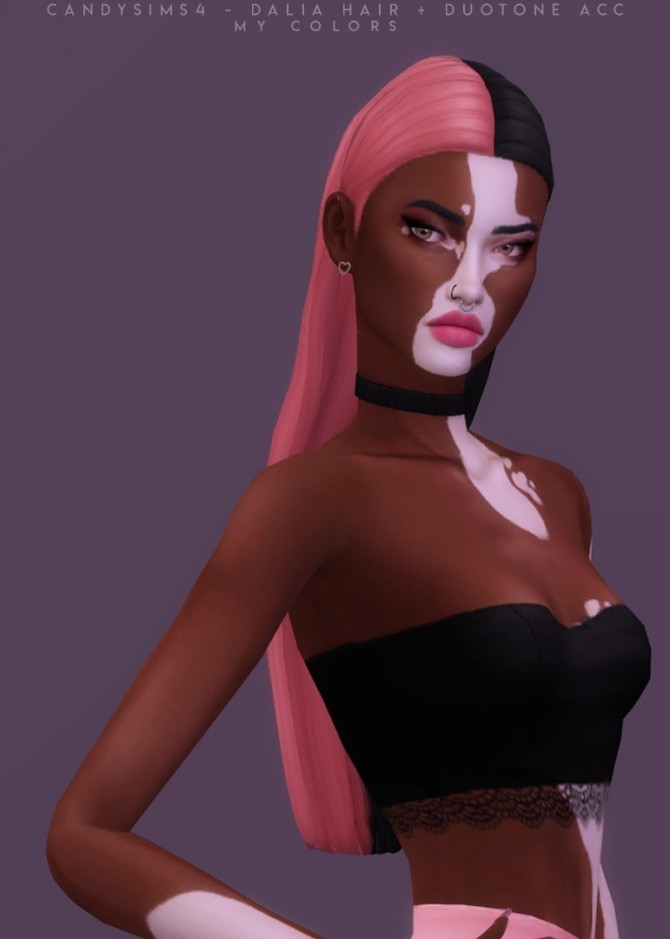 Sims 4 DALIA basic long hair with hair clips and duotone acc at Candy Sims 4