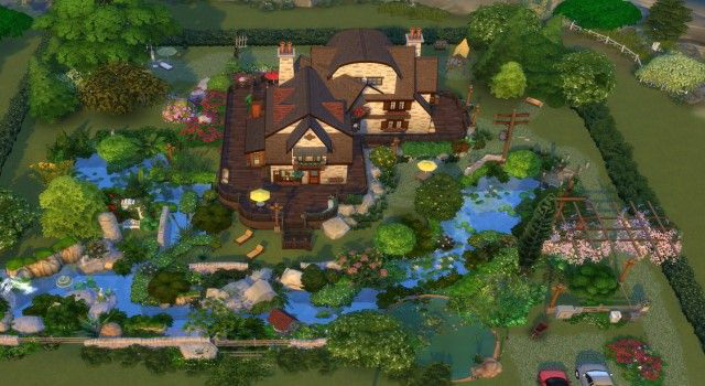 Sims 4 House by the stream by Oldbox at All 4 Sims