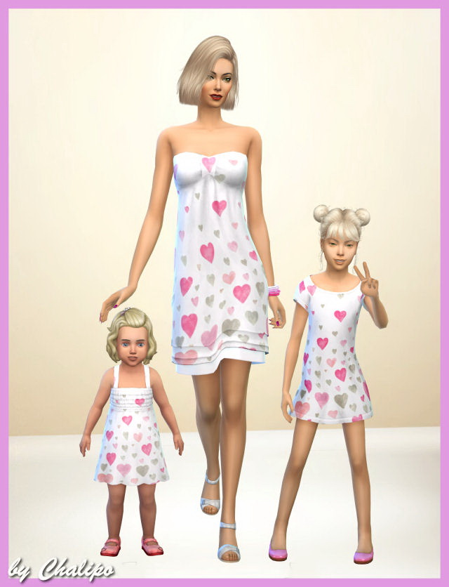 Sims 4 Valentine dress all ages by Chalipo at All 4 Sims