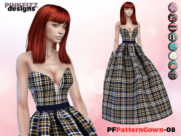 Sims 4 Patterned Gown PF08 by Pinkfizzzzz at TSR