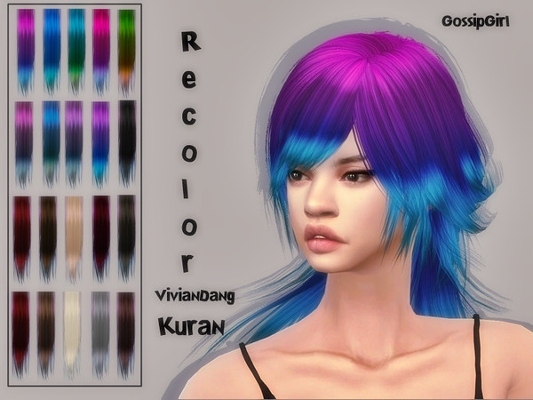 Sims 4 VivianDang Kuran Hair Recolor by GossipGirl at TSR