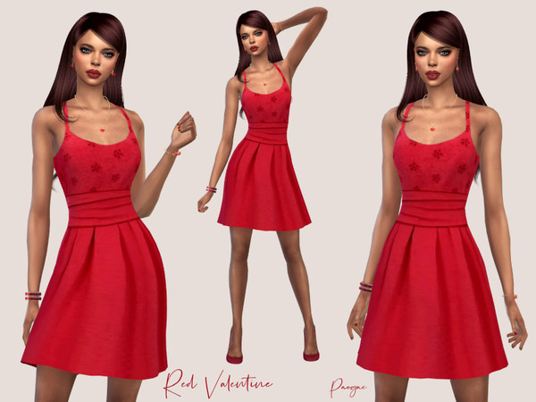 Red Valentine dress by Paogae at TSR image 1818 Sims 4 Updates