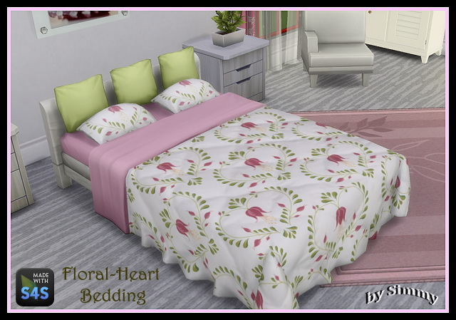 Floral Heart Beddings by Simmy at All 4 Sims image 1824 Sims 4 Updates