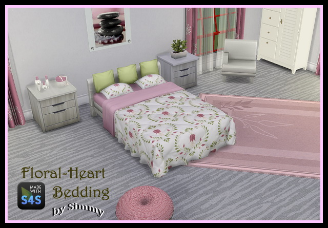 Sims 4 Floral Heart Beddings by Simmy at All 4 Sims