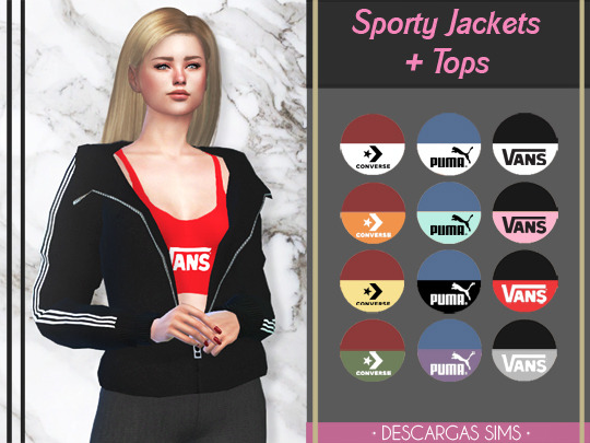 Sims 4 Sporty Jackets + Tops at Descargas Sims