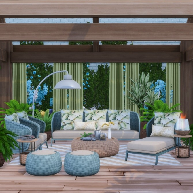 Sims 4 Oasis Chic Outdoor Wicker Living Set at Simsational Designs