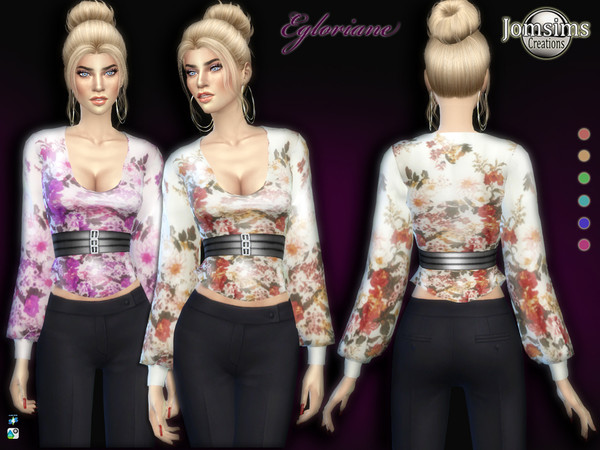 Sims 4 Egloriane top by jomsims at TSR