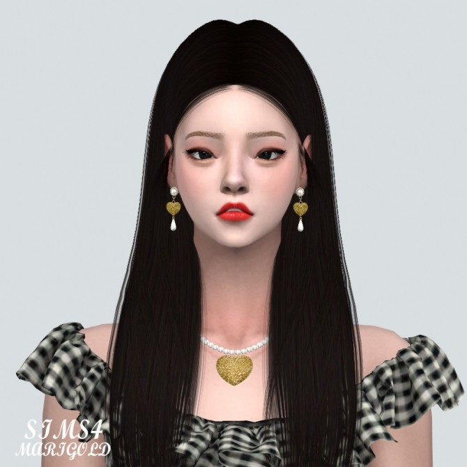 Sims 4 Lovely Small Heart Pearl Earring at Marigold