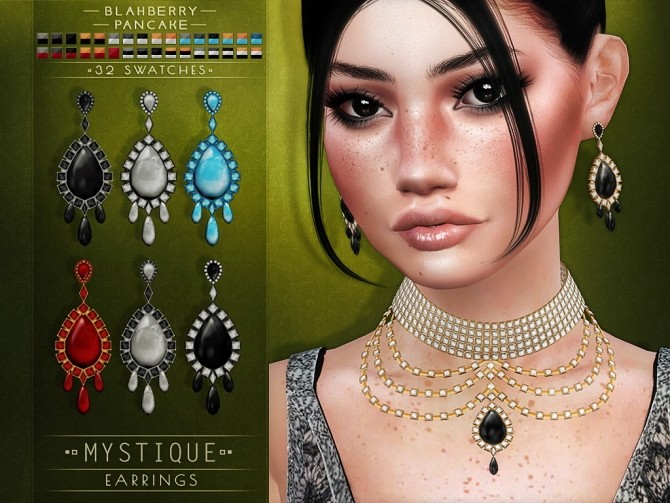 Sims 4 Mystique earrings and necklace at Blahberry Pancake