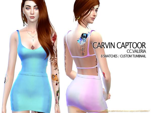 Sims 4 Valeria dress by carvin captoor at TSR