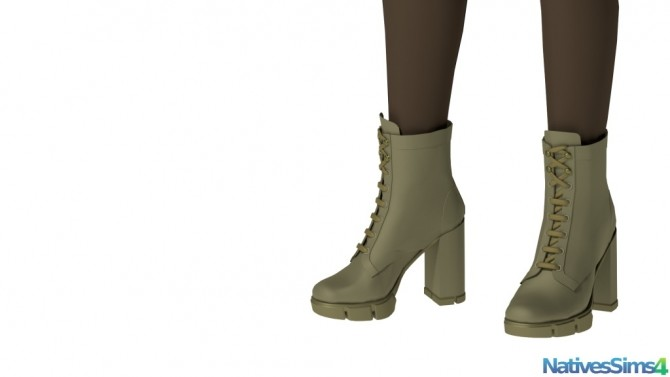 Sims 4 Lace Up Military Style Boots No Slider at Natives Sims 4