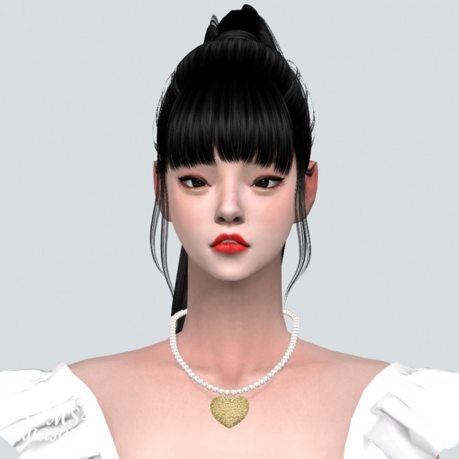 Sims 4 Lovely Heart 1 Pearl Necklace at Marigold