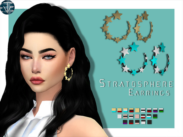 Sims 4 Stratosphere Earrings by Tiffany.Vegas at TSR