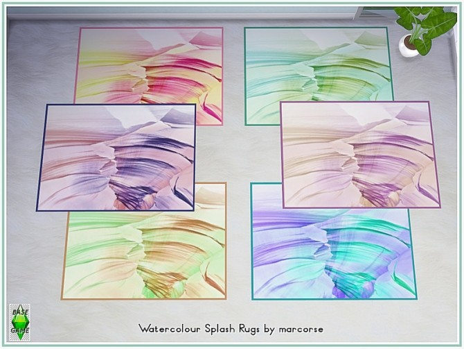 Sims 4 Watercolour Splash Rugs by marcorse at TSR