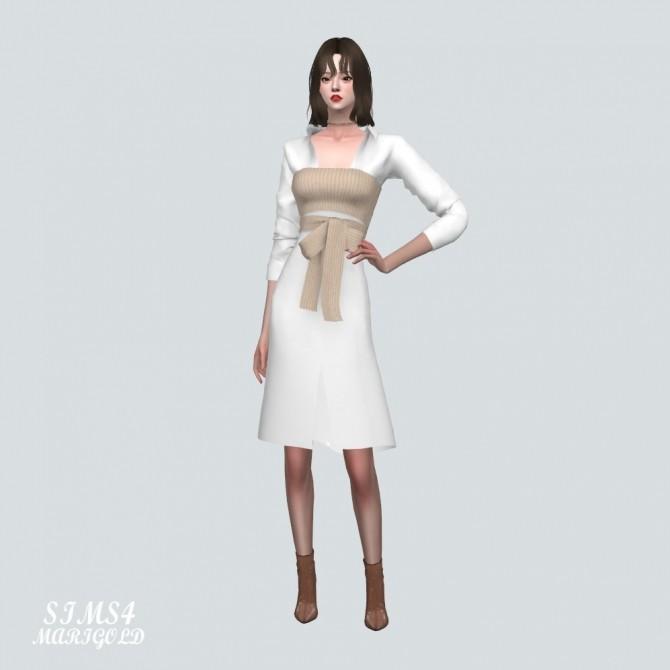 Ribbon Bustier With Midi Shirts Dress at Marigold image 2165 670x670 Sims 4 Updates