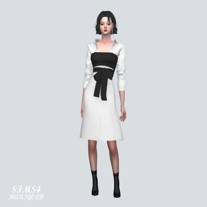 Sims 4 Ribbon Bustier With Midi Shirts Dress at Marigold