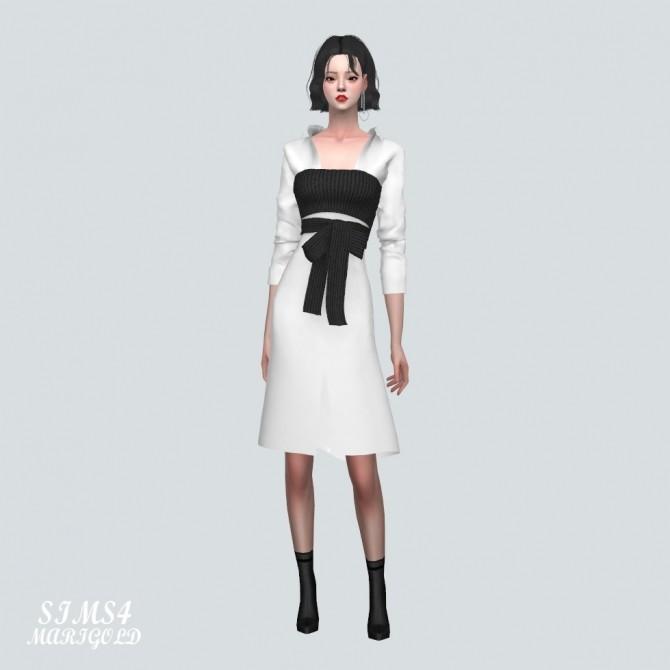 Ribbon Bustier With Midi Shirts Dress at Marigold image 2175 670x670 Sims 4 Updates