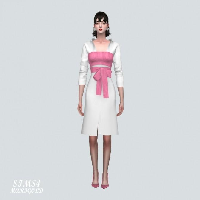 Ribbon Bustier With Midi Shirts Dress at Marigold image 2184 670x670 Sims 4 Updates
