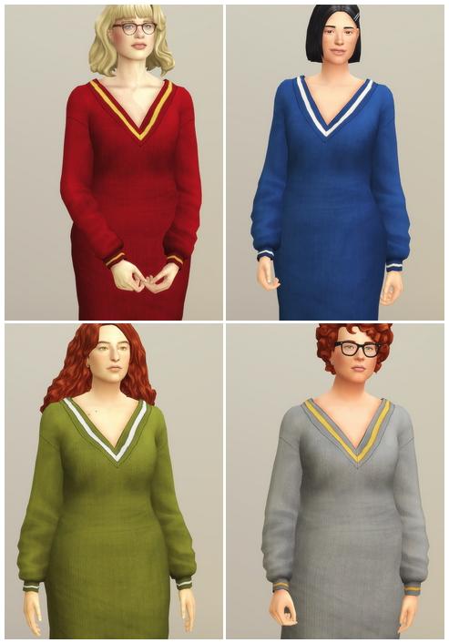 Sims 4 V neck Sweater Dress (Solid) at Rusty Nail