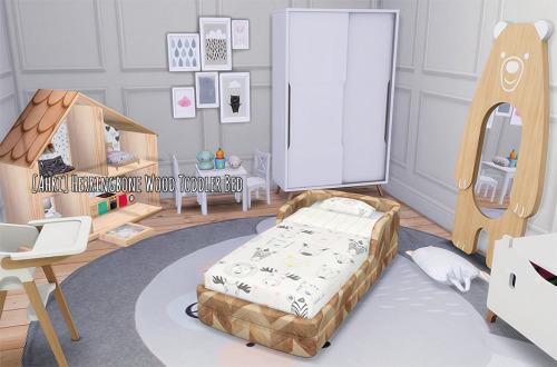 Sims 4 Herringbone Wood Toddler Bed at Ahri Sim4