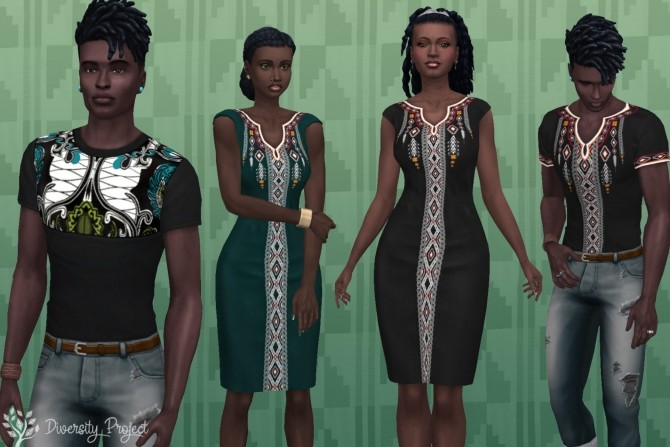 Sims 4 Black History Month clothing set at Sims 4 Diversity Project