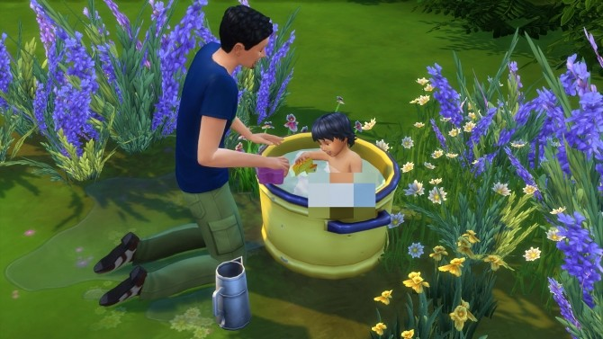 Sims 4 Off grid Toddler/Pet Washtub by K9DB at Mod The Sims