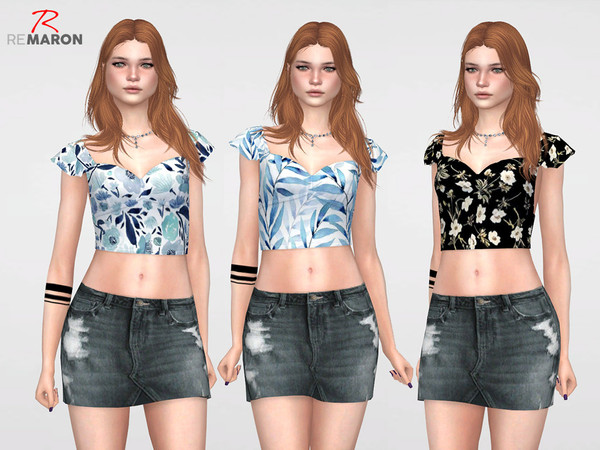 Sims 4 Floral Top for Women by remaron at TSR