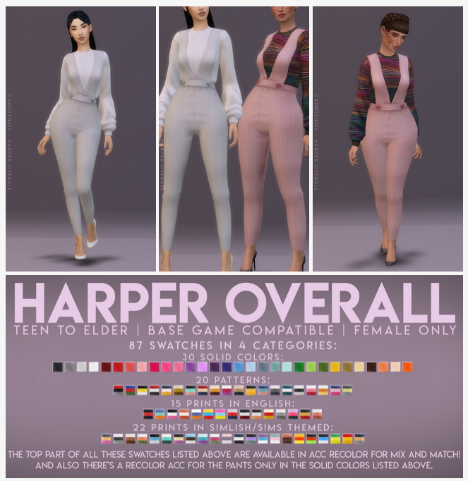 Harper S Nursery Updated: HARPER OVERALL At Candy Sims 4 » Sims 4 Updates