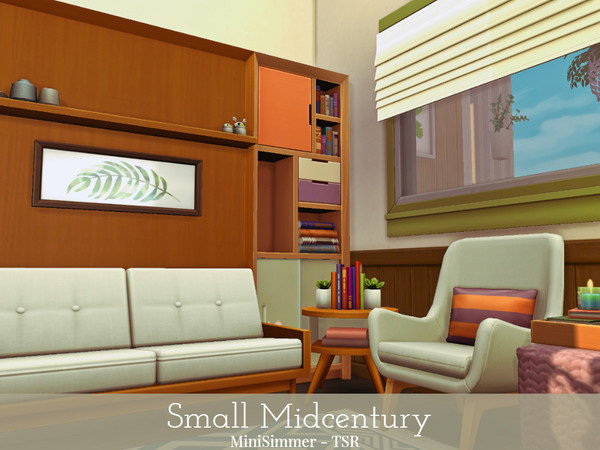 Sims 4 Small Midcentury home by Mini Simmer at TSR