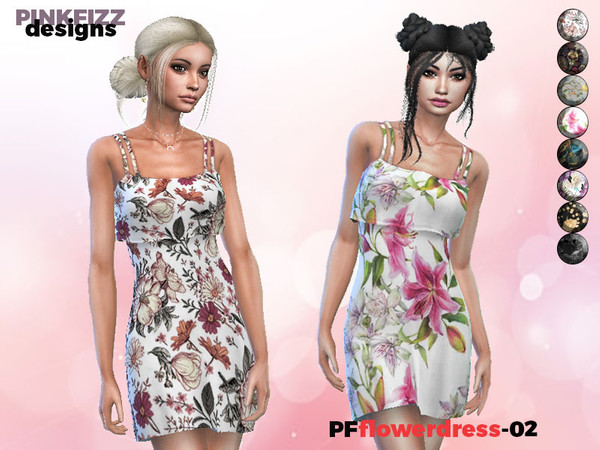 Sims 4 Flower Dress PF02 by Pinkfizzzzz at TSR