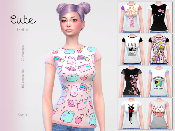 Sims 4 Cute T Shirt by Suzue at TSR